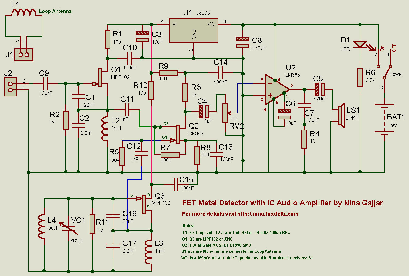 Fet Metal Detector By Nina Gajjar Schematic Circuit Diagram Audio Amplifier Circuits